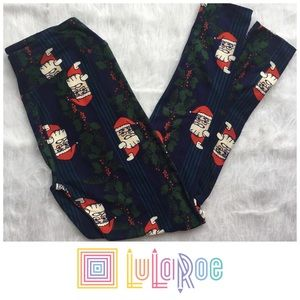 LULAROE Blue Santa Christmas one size leggings